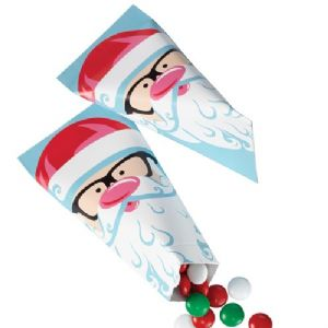 Sweet Holiday Sharing Santa Cinched Treat Bag pk/6